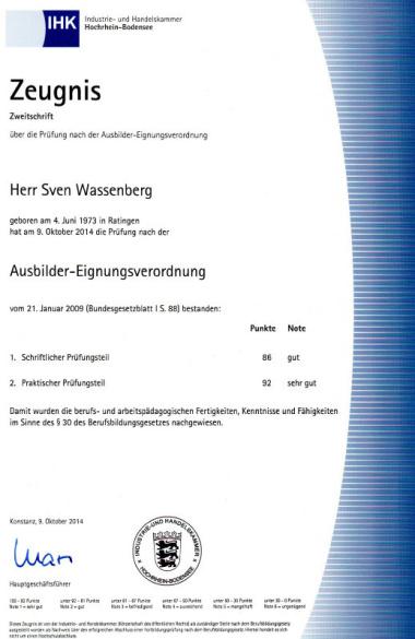 Ausbilderzeugnis IHK Konstanz