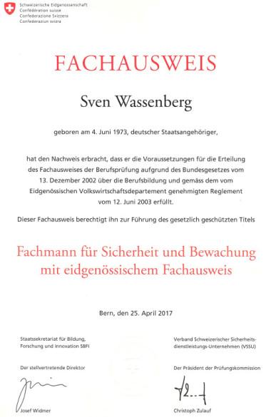 Fachausweis Schweiz